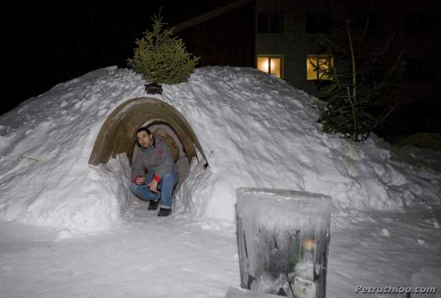 Outside the igloo