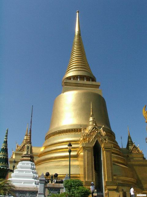 A golden building at the Emerald Buddha temple complex
