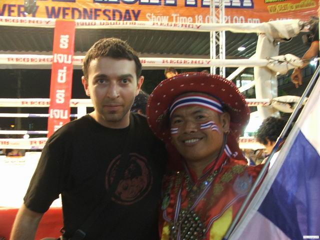 Me and a Muay Thai promoter in a traditional outfit